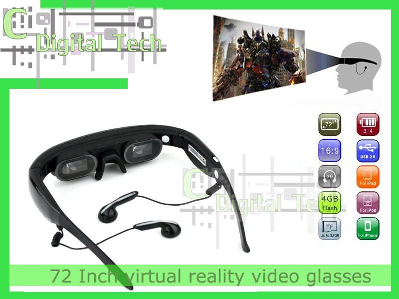 72 Inch virtual reality video glasses eyewear virtual screen wireless video glasses + DHL FEE SHIPPING fast free shipping(China (Mainland))