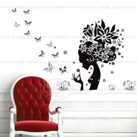 Hot Sale wall stickers sexy woman head and butterfly wall art sticker removable DM57-0018