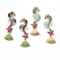 Exaggerated fashion colourful loverly sea horse female stud earrings