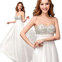 Luxury diamond white lace perspective Bridesmaid gown 2014 fashion v-neck sleeveless crystal vestido de madrinha plus size 8267