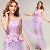 Sexy purple chiffon lace flowers Bridesmaid dresses 2014 fashion sleeveless summer dresses plus size 8266
