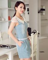 2014 women's slim denim dress lace 100% water wash cotton one-piece dress M L XL XXL