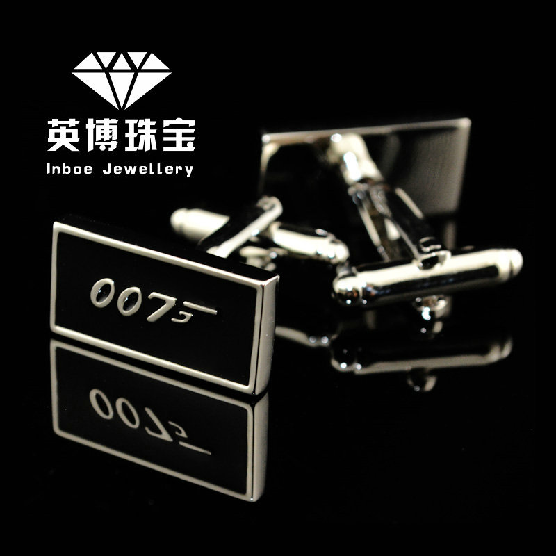INBOE Jewellery silver JAMES BOND 007 cufflinks male French shirt cuff links for men's Jewelry Gift free shipping 151997(China (Mainland))