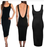 2014 New hot sale Europe black low V cut backless women summer night club party sleeveless Sexy Slim bodycon maxi size dress