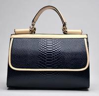 HOT snakeskin fabric leather handbag women bag fashion shoulder messenger bags black Crocodile leather totes bag brand
