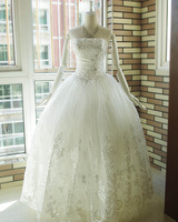 Bling big laciness sparkling diamond sew-on gorgeous wedding dress the bride wedding dress formal dress