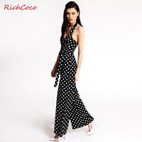 Sexy polka dot V-neck racerback bow sleeveless lacing chiffon jumpsuit plus size female d011