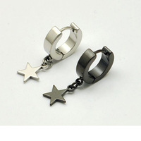 2014 Fashion Width 4 mm Five-pointed star titanium steel Men pendant Drop earrings 2 colors for choose free shipping