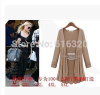 ONL1231 Brand  Women Plus Size Blouse High Street Looser Black Blue White Khaki Solid Long Sleeve Shirt