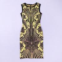 Hot!2014 New style fashion Black round neck gold printing bandage evening dress prom party sexy dress