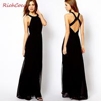 LoveShow Richcoco racer back slim fashion long design chiffon one-piece dress tank dress 2014 new summer women dress autumn