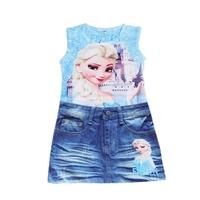 Fashion Girls Frozen clothes Queen Elsa Anna dress Girls Children Kids cartoon princess dress