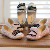 Milan Brand HOT 2014 Spring Glitter Lip+Lipstick+Eyes+Eyelash Princess Girls Children Shoes for Kids Sneakers