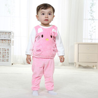2014 Hitz flannel suit kitty girls children's clothing baby clothes