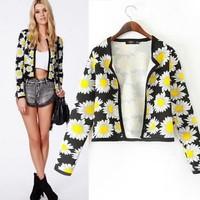2014 New arrivals Ladies' Elegant Sunflower Flowers print short Jacket thin coat outerwear casual slim brand tops