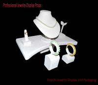 Professional Necklace Earring Ring Bracelet Display Kit Beige Suede Holder Showing Stand Counter Jewelry Display Props Set