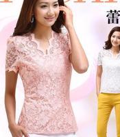 Free shipping Blusas Femininas 2015 New Fashion Shirt Women Blouse Vintage XL Lace Tops For Women pink Ladies Blouses