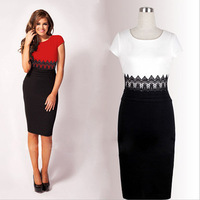 2014 New Fashion Womens Empire Vintage Crochet Lace Round neck Patchwork Bodycon Fitted Shift Party Pencil Dress Free shipping