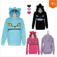 Colored Zipper Smile Mouth Cat 3D Ear Hoodie Cat Front Jumper Sweater Long Sleeve Fleece SweartShirt Tops