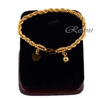1pcs Women Boys Girls 18K Gold Filled Rope Bracelet Chain Fashion E176