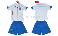 Customize 14/15 italy away white thai quality kids soccer football jersey+shorts kits, children soccer Uniforms, size:16-28