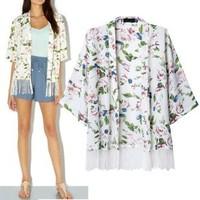 2014 New arrivals Ladies' elegant floral print tassel Kimono outerwear loose vintage cape casual cardigan brand designer tops
