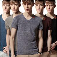 New Mens T Shirt Fashion 2014 Summer Camisetas V Neck Short Sleeve Men T-shirt Fitness Brand Casual Tshirt Plus Size Tops & Tees