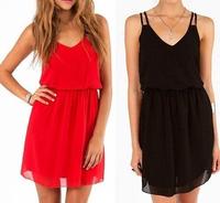 2014 New Women Summer Sexy Chiffon Casual Party Short Mini Dress