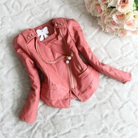 Girls Jacket Long sleeve Pearl Inclined Zipper leather jacket Children Coat Kids Clothing Children Outerwear New 2014 winter