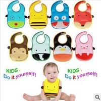 2014 new children eat meals dimensional pocket bibs waterproof bib babies bibs with pocket fold