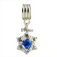 1 Piece, 2014 New Arrival 925 Silver Beads,Rhinestone Snowflake Pendant Fit Pandora Charms Bracelets & Necklace,SPP029