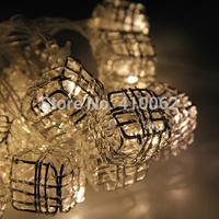 20 LED beads 2M Fairy String Lights Block Shape Silver Metal Warm White Battery Power