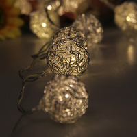 20 LED beads 2M Fairy String Lights Ball Shape Silver Metal Warm White Battery Power