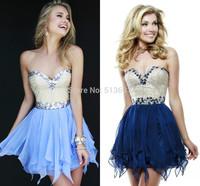 Sumptuous Sweetheart Chiffon Mini party Homecoming Vestidos Free Shipping Green Navy Blue Prom Dresses 2014 Short Crystals