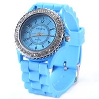 NEW Arrival Leisure Fashion GENEVA Quartz Watch Silicone Round Analog Wristwatches Women Dress Match Rhinestone Gift RCD01watch