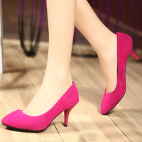 Free shipping Velvet high-heeled shoes pointed toe thin heels shallow mouth red wedding shoes ol black women's flock shoes rose