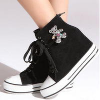 2014 new Autumn women shoes Korean leather thick bottom Rhinestone teddy bear higher leisure boots genuine leather 5