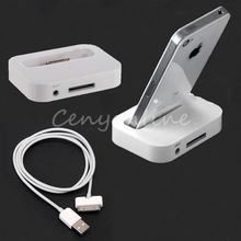 White 2 In 1 USB 2.0 Sync Audio Stand Dock Cradle Desktop Charger + Docking Date Charging Cable For iPod For iPhone 3G 3GS 4 4S