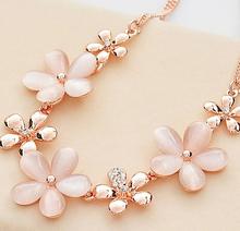 LZ Jewelry Hut N301 The 2014 Wholesale Vintage  Rhinestones Opal Flower Womans Pendant Necklace