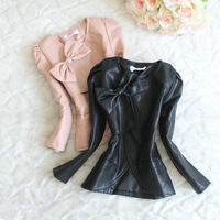 Girls leather jacket 3-6 years Old Bows Round neck long sleeved Leather Girls Children Coat Children Outerwear New 2014 winter