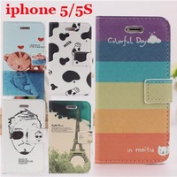 Free ship! Luxury New Design Cartoon Pattern Wallet Leather Case for iphone 5 5G 5S Cover with Credid Card Slots,14 colors