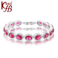925 Sterling Silver Bracelet  Fashion Jewelry Round Pink  Color Stone Bracelet Bangle for women