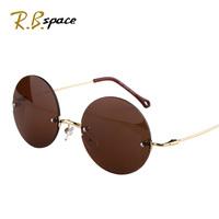 Male Women fashion round box sun glasses vintage rimless sunglasses anti-uv glasses
