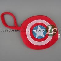 30pcs/lot Wholesale  America Captain Shield Wallet With Zipper Character Plush Wallet