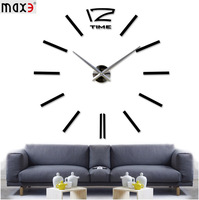 2014 hot  Modern Big DIY 3D Digital Mirror big black  Wall Clock Unique Gifts Art Wall Clocks  Home Decoration
