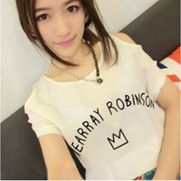 2014 Women t-shirt summer fashion t-shirts slim short sleeve chiffon T shirt Dew shoulder 3 color women clothing G817