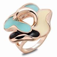 Creative Rhinestone Fashion Hot foreign trade Enamel Flower Ring CZ Zircon Austrian Crystal Rose Gold Plated