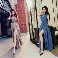 Free Shipping 2014 Summer Sexy Deep V-neck Maxi Long Dress Chiffon Bohemian Beach Maxi Dress Blue Khaki