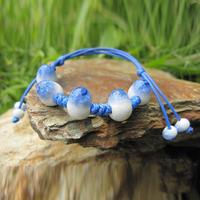 Fashion Rope Chain Ceramic Beads Bracelet Blue White Very Beautiful #A00126