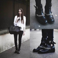2014 Autumn Winter Women Fashion Boots Genuine Leather Side Hollow Out Metal Chain Shoes Mid Heel Ankle Boot Black Novelty Shoe